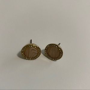 Round blush and gold earrings